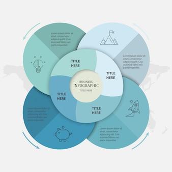 Blauwe kleuren cirkel infographics 4 opties sjabloon en pictogrammen.