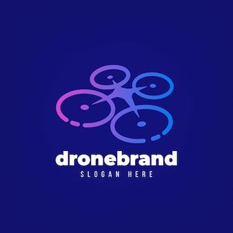 Blauwe kleurovergang drone logo sjabloon