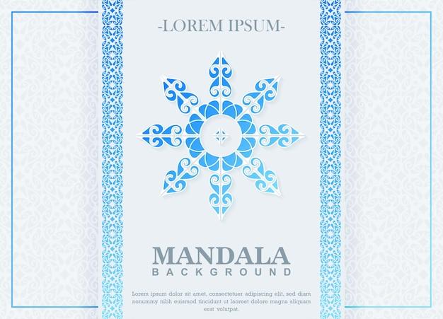 Blauwe kleurovergang mandala achtergrond
