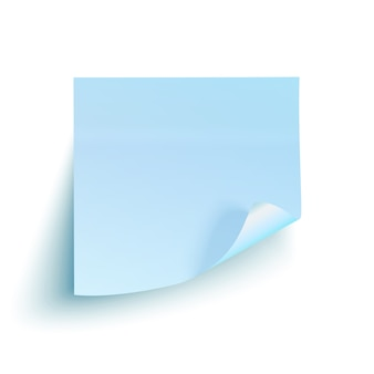 Blauwe kleverige nota die op witte achtergrond wordt geïsoleerd.