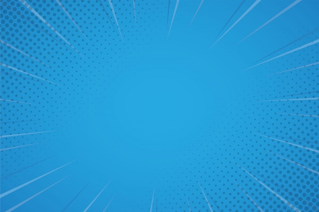 Blauwe komische achtergrond met halftoon