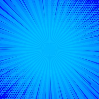 Blauwe komische achtergrond met lijnen en halftone