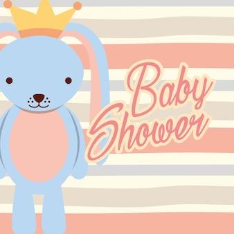 Blauwe konijn jongen baby douche