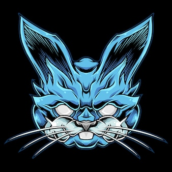 Blauwe konijn mascotte illustratie