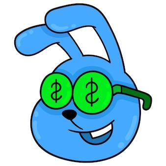 Blauwe konijnenkop met dollarbiljet gierig, vector illustratie karton emoticon. doodle pictogram tekening