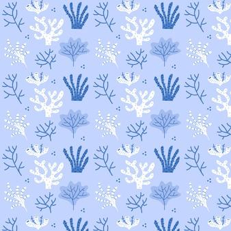 Blauwe koraal patroon sjabloon met zeewier