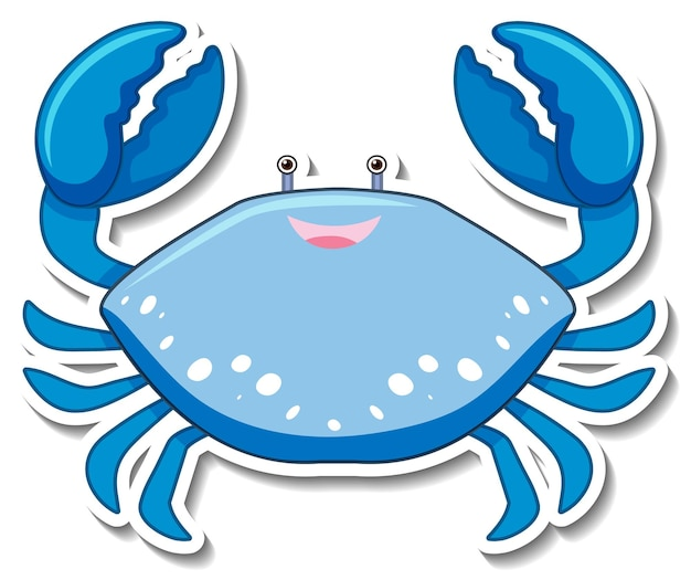 Blauwe krab zee dier cartoon sticker