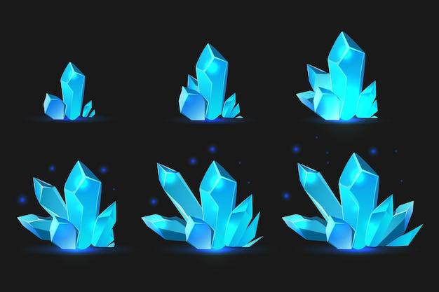 Blauwe kristallen set