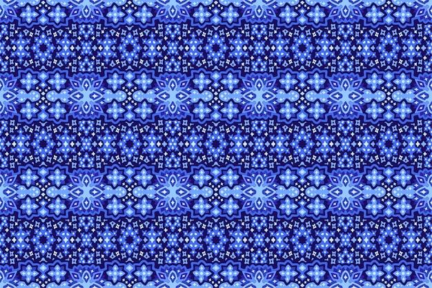 Blauwe kunst met sterrenhemel hand getrokken naadloos patroon