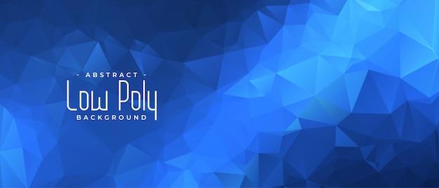 Blauwe laag poly banner met driehoek vormen achtergrond