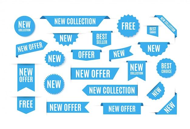 Blauwe labels en stickers met de beste deals. web vaandel, verkoopbevordering stickers, gebogen linten.