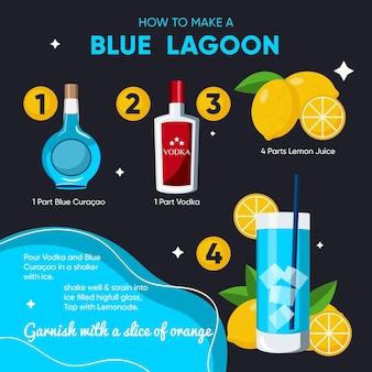 Blauwe lagune cocktail recept illustratie