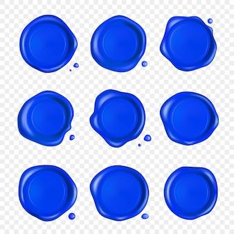 Blauwe lakzegel set. wax zegel stempel set met druppels geïsoleerd. realistische gegarandeerde blauwe postzegels.