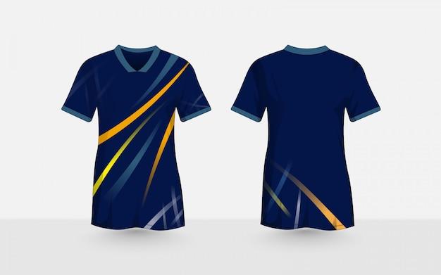 Blauwe lay-out e-sport t-shirt ontwerpsjabloon. abstract kleurenlijnenpatroon