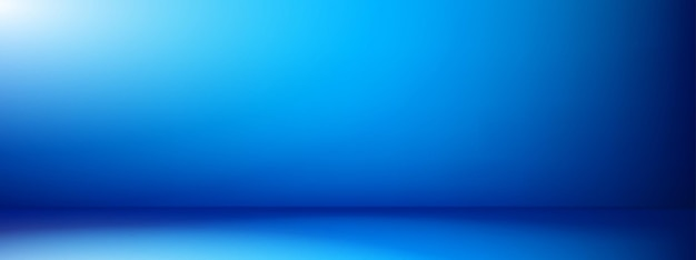 Blauwe lege achtergrond. lege ruimte met blauwe gradiëntachtergrond. blauwe lege studioruimte voor productplaatsing of als ontwerpsjabloon.