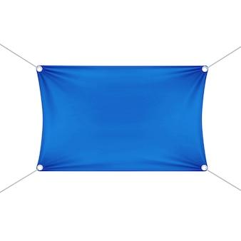 Blauwe lege lege horizontale rechthoekige banner met hoeken touwen.
