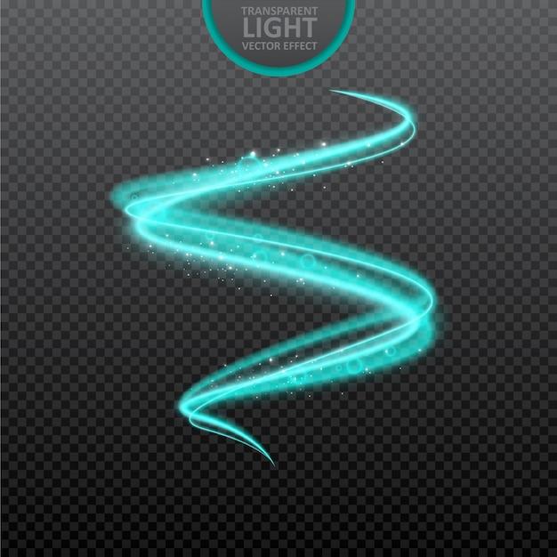 Blauwe lichteffect transparante achtergrond met realistische fonkelingen.