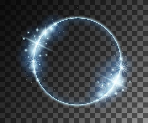 Blauwe lichteffecten met deeltjesdecoratie