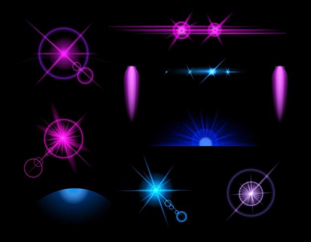 Blauwe lichteffecten pictogrammenset met abstracte en geïsoleerde gekleurde elementen op zwart