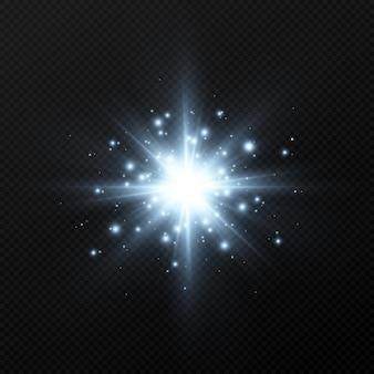 Blauwe lichtflits met glitters