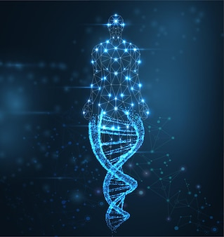 Blauwe lichtgevende dna-molecuul neon helix en menselijk lichaam