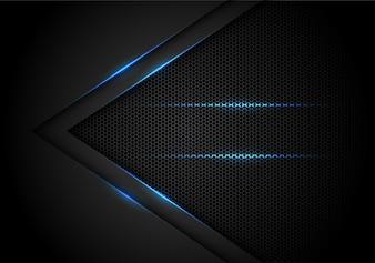 Blauwe lichtpijl op zwarte met hexagon netwerkachtergrond.