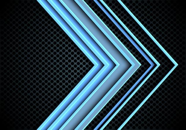 Blauwe lichtpijlrichting op de achtergrond van het cirkelnetwerk.