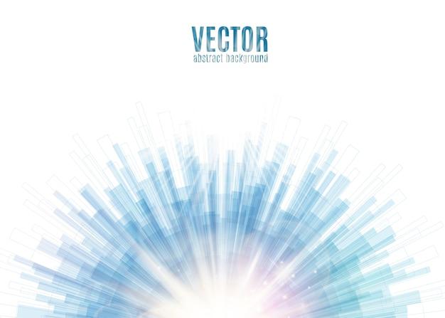 Blauwe lijn afgerond abstracte achtergrond met onscherpte lichtstralen en schittering in het midden