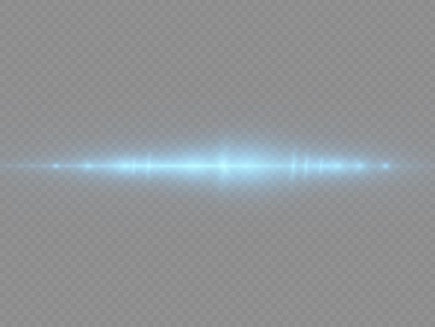 Blauwe lijn flare-effect horizontale laserstralen lichtstralen gloeiende strepen blauwe lens flares pack