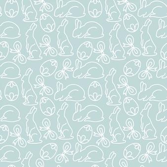 Blauwe lijn schets pasen-patroon achtergrond