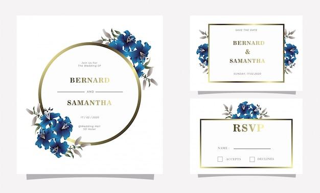 Blauwe lili-de uitnodigingskaart van het bloemhuwelijk
