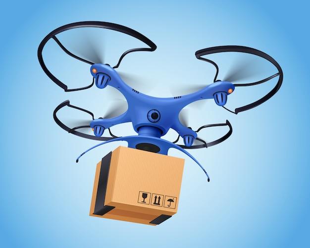 Blauwe logistieke post drone realistische samenstelling en het vergemakkelijkt de levering van postdiensten
