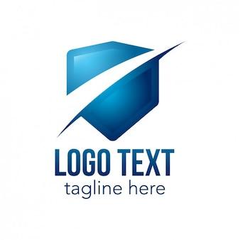 Blauwe logo met schild vorm