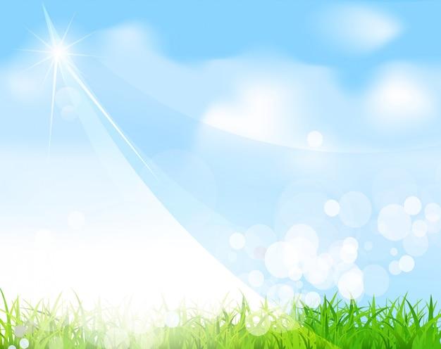 Blauwe lucht met gras, balk, vervagen