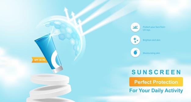 Blauwe lucht wolk cosmetisch product display-sjabloon voor spandoek met podium platform, bel, schild bol