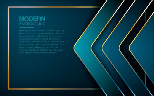 Blauwe luxeachtergrond met gouden lijn