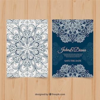 Blauwe mandala bruiloft uitnodiging