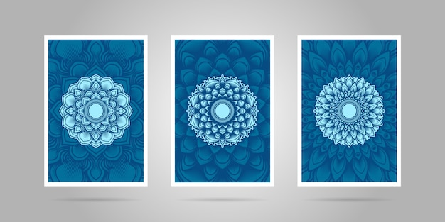 Blauwe mandala flower cover set.