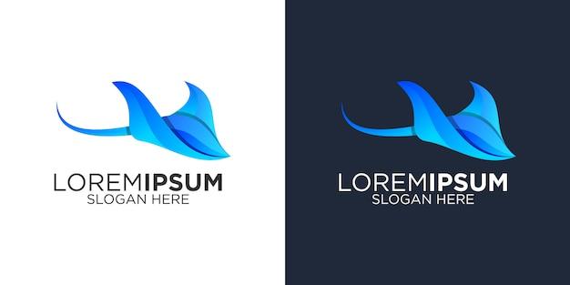 Blauwe manta logo ontwerpsjabloon