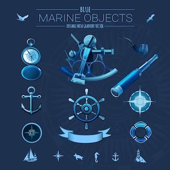 Blauwe mariene objecten