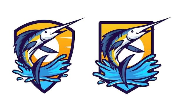Blauwe marlijn vis springen badge ontwerp