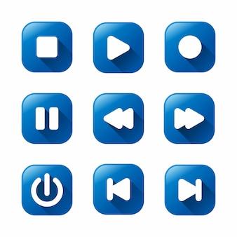 Blauwe mediaspelerpictogrammen