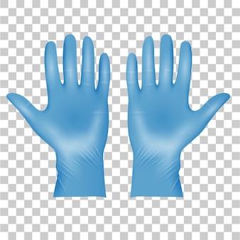 Blauwe medische latex beschermende handschoenen, realistische zwarte handschoenen op transparant. details 3d-stijl medische handschoenen. vector illustratie