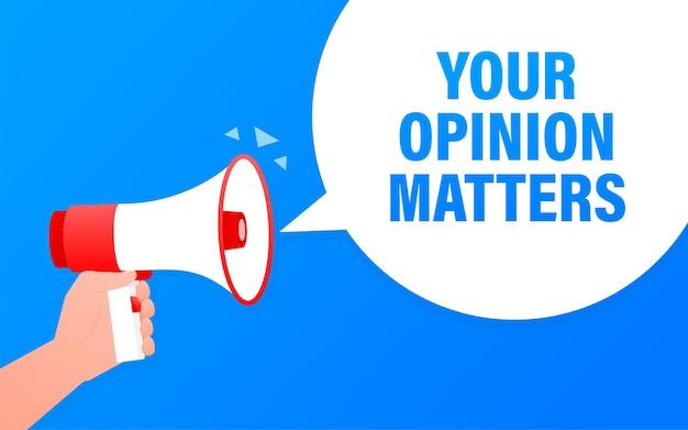 Blauwe megafoon met uw mening is belangrijk concept. illustratie op witte achtergrond.