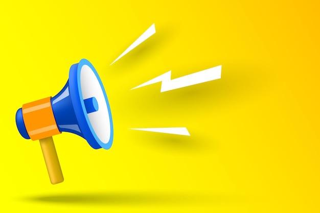 Blauwe megafoon op gele achtergrond vectorillustratie