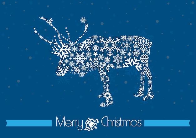 Blauwe merry christmas-achtergrond met rendiersilhouet gevormd door sneeuwvlokken