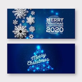 Blauwe merry christmas banner