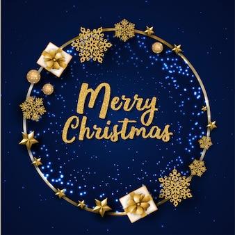 Blauwe merry christmas wenskaart