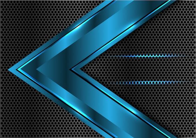 Blauwe metalen achtergrond van het de cirkelnetwerk van de pijlrichting.