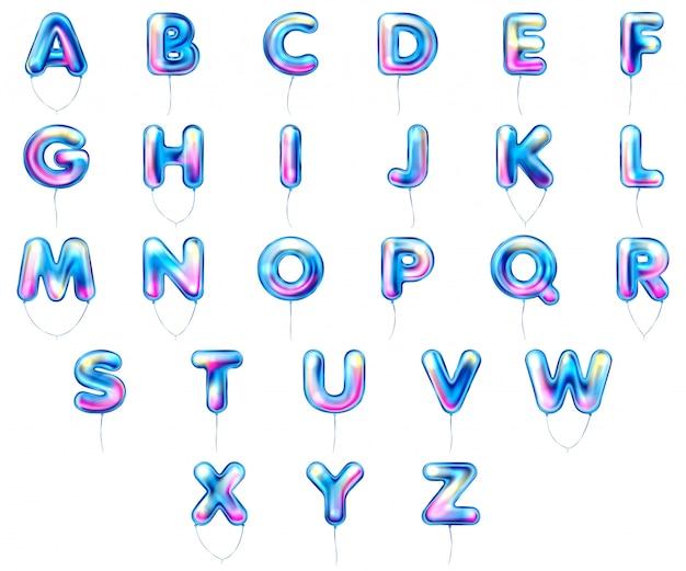 Blauwe metalen ballon, opgeblazen alfabet symbolen